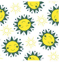 Cute sun seamless pattern vector