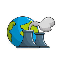 earth planet with polluction factory vector image