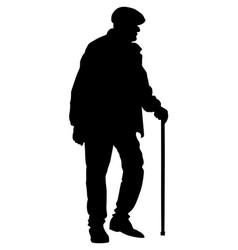 elderly senior man walking with stick silhouette vector image