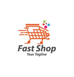 fast shop shopping cart trolley online shop logo vector image