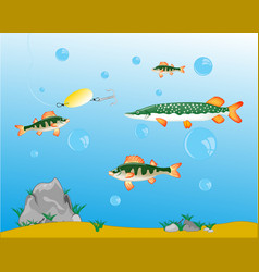 Fishing on pike and perch vector