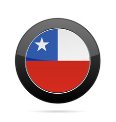 flag of chile shiny black round button vector image