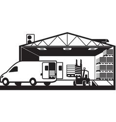 Forklift loading cargo van with pallets in warehou vector