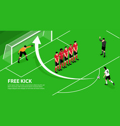 free kick isometric background vector image