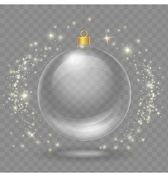 Glass transparent christmas ball Xmas design vector