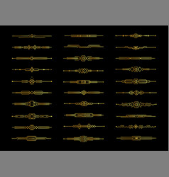 golden decorative dividers set on black background vector image