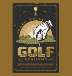 golf professional sport retro poster vector image