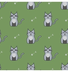 Gray cute cartoon cat backgrouns vector image
