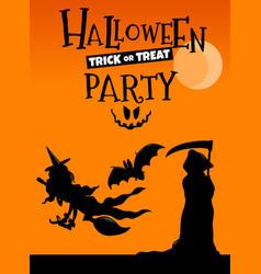 halloween holiday cartoon poster or banner design vector image