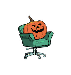 halloween pumpkin is sitting in a chair isolate vector image