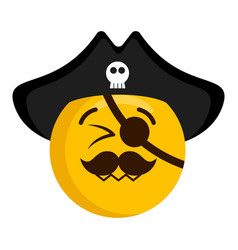 Happy pirate emoji with a hat vector