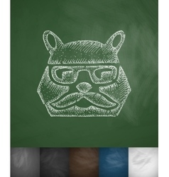 Hipster bear icon Hand drawn vector