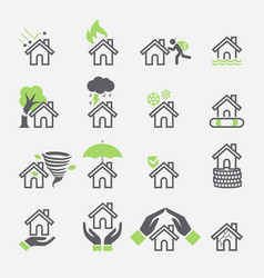 house insurance services icons vector image