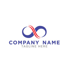 Infinity logo template in blue and red vector