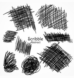 Ink lines of pen in scribble style hand drawn set vector