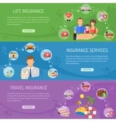 Insurance Services Horizontal Banners vector