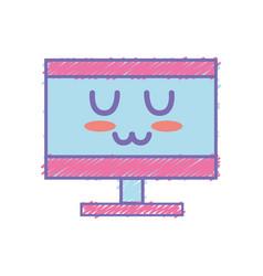 Kawaii cute tender computer technology vector