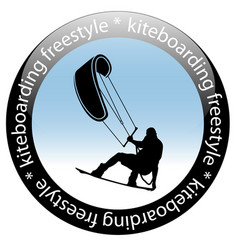 Kiteboarding freestyle rider icon vector