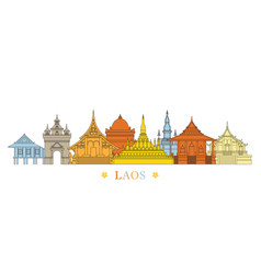 Laos landmarks skyline line and colourful vector