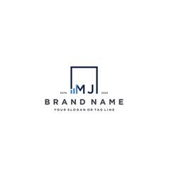 Letter mj square logo finance design vector