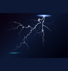 lightning and thunder bolt glow and sparkle vector image