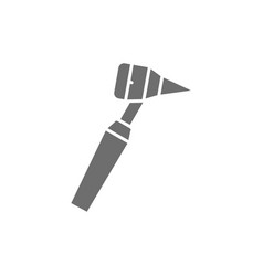 Medical otoscope tool gray icon isolated on white vector