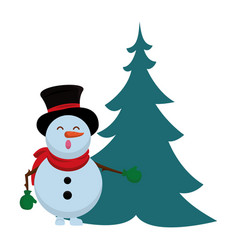 merry christmas snowman with pine tree vector image