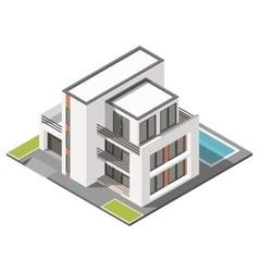 Modern three storey house with flat roof sometric vector image vector image
