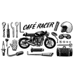 motorcycle repair set tools for cafe racer vector image