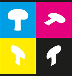 Mushroom simple sign white icon with vector