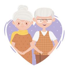 Old people cute couple grandma and grandpa in vector