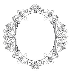 ornamental vintage frame with lilies vector image