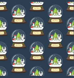 penguin in christmas costume in snowball seamless vector image