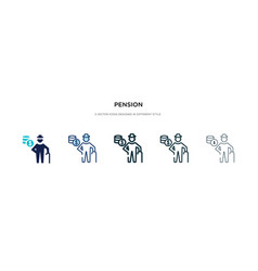 Pension icon in different style two colored and vector