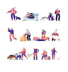 People with pets and domestic animals set vector