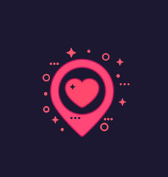 Pinpoint with heart dating icon on dark vector