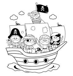 pirate boys and girls sailing on a ship at sea vector image