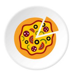 pizza icon circle vector image