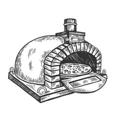 Pizza oven engraving vector