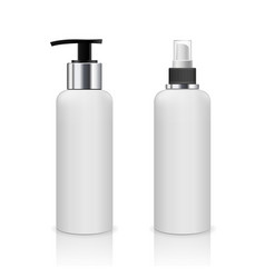 pump bottle and spray bottle white products vector image