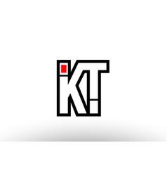red and black alphabet letter kt k t logo vector image