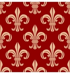 Red royal fleur-de-lis seamless pattern vector