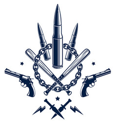 Revolution and war emblem with bullets and guns vector