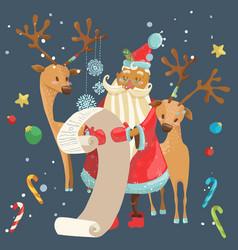 santa reading a long christmas wish list with deer vector image