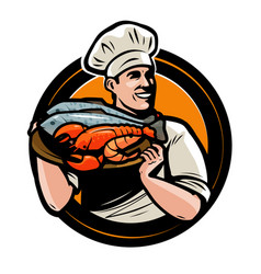 Seafood logo or label chef with tray food vector