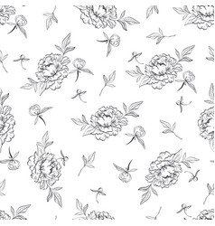 seamless black and white pattern with peonies and vector image