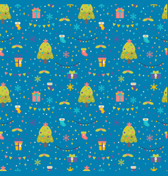 seamless pattern with christmas tree gifts and vector image