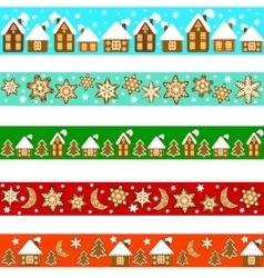 set christmas borders vector image