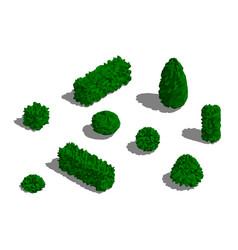 set different bushes 3d low poly vector image