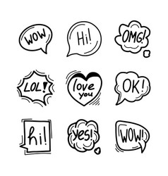 set hand drawn speech bubbles clouds and vector image
